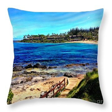 Napili Beach Gazebo Walkway Shower Curtain Size Throw Pillow