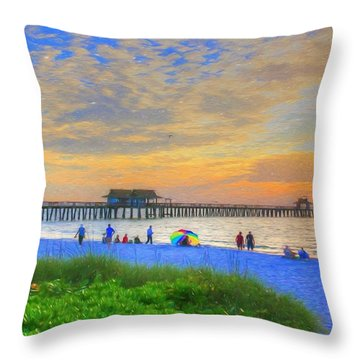 Naples Beach Throw Pillow