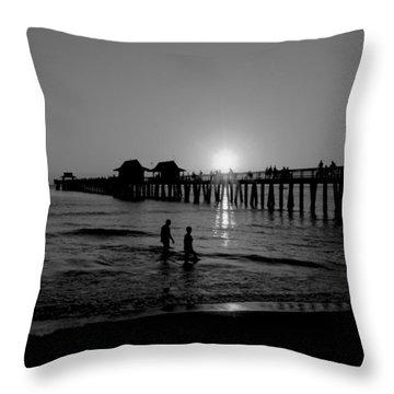 Naples Florida Pier Sunset Throw Pillow