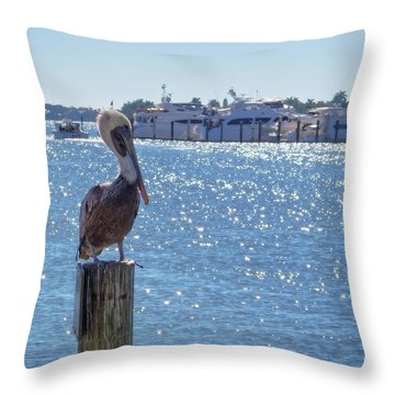 Throw Pillow featuring the photograph Naples Pelican by Lars Lentz