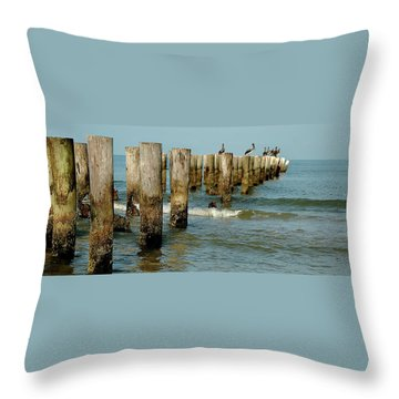 Naples Pier And Pelicans Throw Pillow