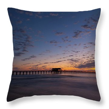 Naples Pier Magic Hour Throw Pillow