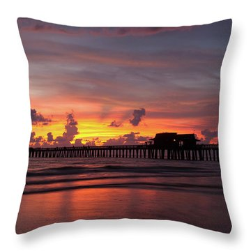 Naples Pier Silhouette  Throw Pillow