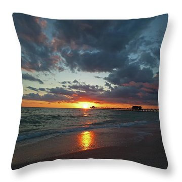 Naples Pier Sunset  Throw Pillow