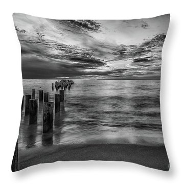 Naples Sunset In Black And White Throw Pillow