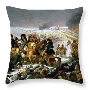 Throw Pillow featuring the painting Napoleon At Eylau  by Antoine Jean Gros