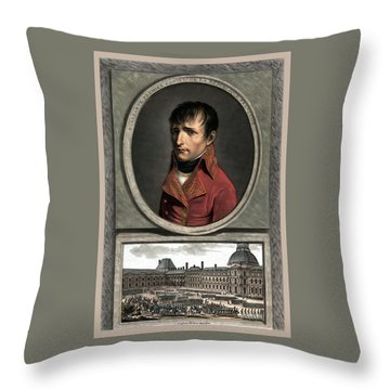 Throw Pillow featuring the painting Napoleon Bonaparte And Troop Review by War Is Hell Store