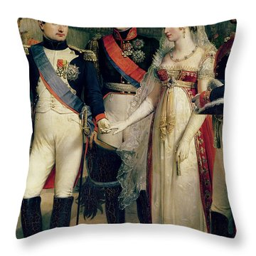 Napoleon Bonaparte Receiving Queen Louisa Of Prussia Throw Pillow by Nicolas Louis Francois Gosse
