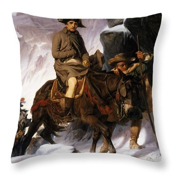 Napoleon Crossing The Alps Throw Pillow by Hippolyte Delaroche
