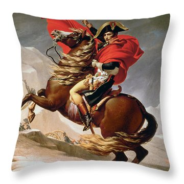 Napoleon Crossing The Alps Throw Pillow