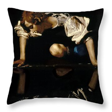 Narcissus Throw Pillow by Caravaggio