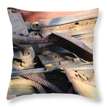Throw Pillow featuring the photograph Narrow Gauge Railroad Scrap by John Mathews