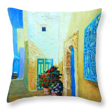 Throw Pillow featuring the painting Narrow Street In Hammamet by Ana Maria Edulescu