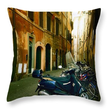 narrow streets in Rome Throw Pillow by Joana Kruse