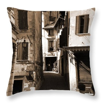 Narrow Streets Of Asolo Throw Pillow by Donna Corless