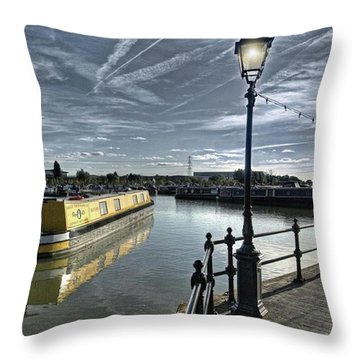 Narrowboat Idly Dan At Barton Marina On Throw Pillow by John Edwards