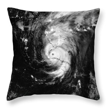 Nasa Hurricane Irma Between Cuba And Florida Satellite Image Throw Pillow