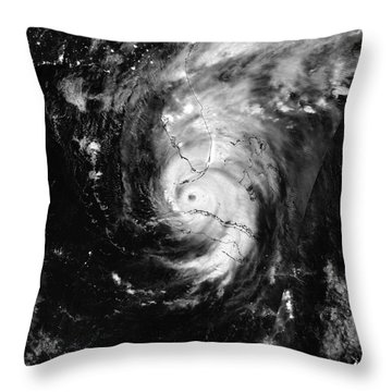Throw Pillow featuring the photograph Nasa Hurricane Irma Between Cuba And Florida Satellite Image by Rose Santuci-Sofranko