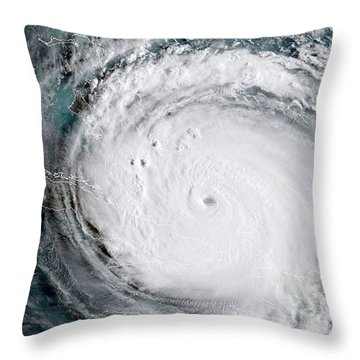 Nasa Hurricane Irma Satellite Image Throw Pillow