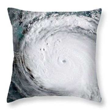 Throw Pillow featuring the photograph Nasa Hurricane Irma Satellite Image by Rose Santuci-Sofranko
