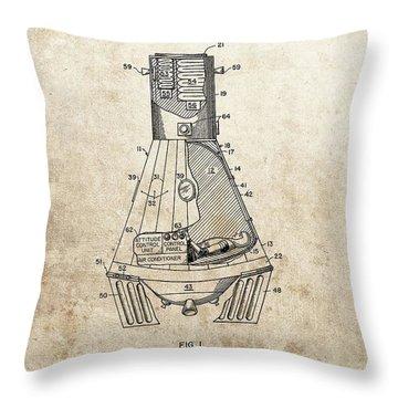 Nasa Space Capsule Patent Throw Pillow