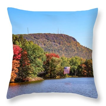 Nashawannuck Pond Fall Colors Throw Pillow