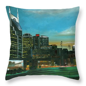 Nashville At Dusk Throw Pillow