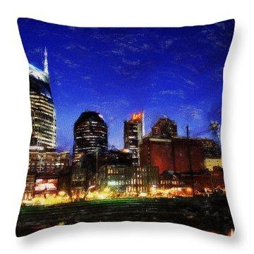 Nashville At Twilight Throw Pillow
