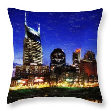 Nashville At Twilight Throw Pillow by Dean Wittle