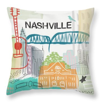 Nashville Cityscape- Art By Linda Woods Throw Pillow