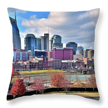 Throw Pillow featuring the photograph Nashville Clouds by Frozen in Time Fine Art Photography