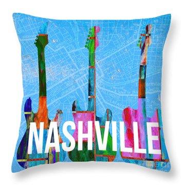Nashville Guitars Music Scene Throw Pillow