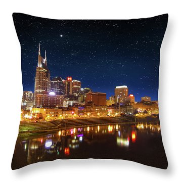 Nashville Nights Throw Pillow by Robert Hebert