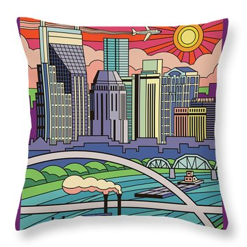 Nashville Poster - Vintage Pop Art Style Throw Pillow