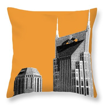 Nashville Skyline At And T Batman Building - Orange Throw Pillow by DB Artist