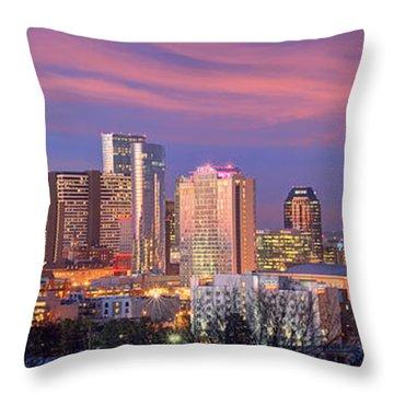 Nashville Skyline At Dusk 2018 Panorama Color Throw Pillow