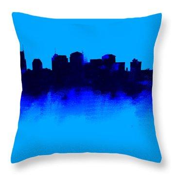 Nashville  Skyline Blue  Throw Pillow by Enki Art