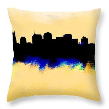 Nashville  Skyline  Throw Pillow by Enki Art