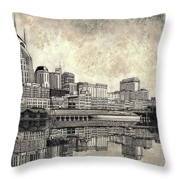 Nashville Skyline II Throw Pillow by Janet King