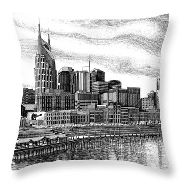 Nashville Skyline Ink Drawing Throw Pillow