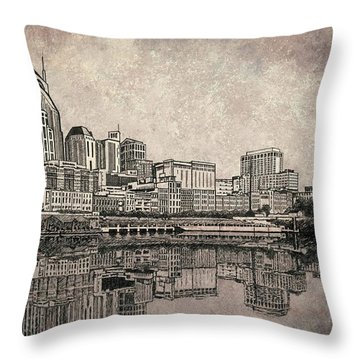 Nashville Skyline Mixed Media Painting  Throw Pillow