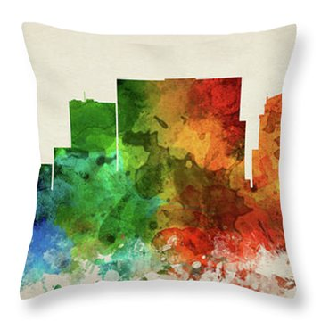 Nashville Skyline Panorama Ustnna-pa03 Throw Pillow by Aged Pixel