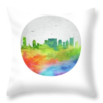 Nashville Skyline Ustnna20 Throw Pillow by Aged Pixel