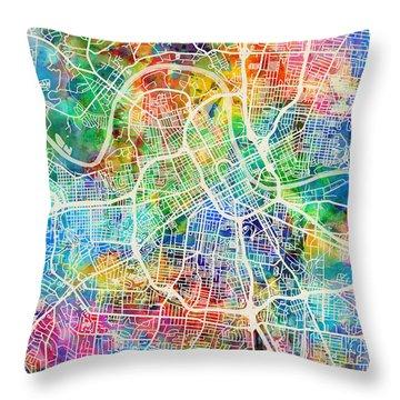 Nashville Tennessee City Map Throw Pillow