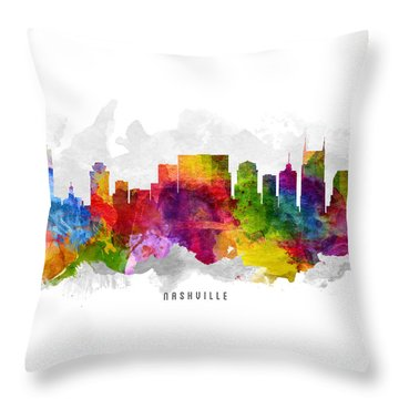 Nashville Tennessee Cityscape 13 Throw Pillow by Aged Pixel