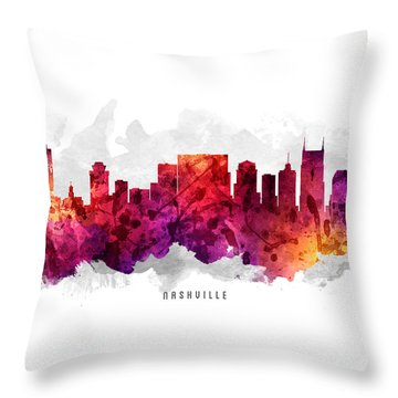 Nashville Tennessee Cityscape 14 Throw Pillow by Aged Pixel
