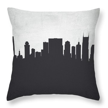 Nashville Tennessee Cityscape 19 Throw Pillow by Aged Pixel