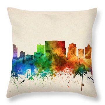 Nashville Tennessee Skyline 05 Throw Pillow by Aged Pixel