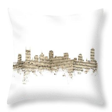 Nashville Tennessee Skyline Sheet Music Throw Pillow