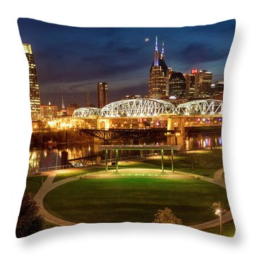 Throw Pillow featuring the photograph Nashville Twilight Skyline by Brian Jannsen
